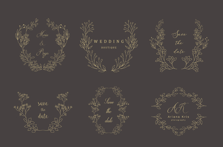 Set of gold floral frames and wreaths with plant. Flower decoration for greeting card. Vinage border.