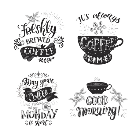 Set of Coffee quotes . Vector hand-drawn lettering . Decoration for restaurant and bar. Calligraphic and typographic design. Coffee plant.  イラスト・ベクター素材