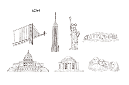 Set of city travel landmarks, tourist attraction in various places of United States of America. Hand Drawn Sketch Vector illustration.