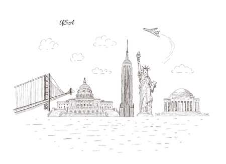City travel landmarks, tourist attraction in various places of United States of America. Hand Drawn Sketch Vector illustration. Tourist banner.