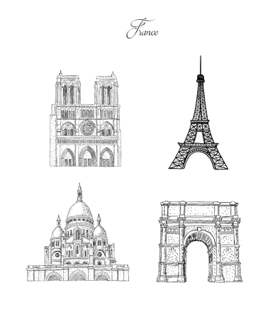 Set of city travel landmarks, tourist attraction in various places of France. Hand Drawn Sketch Vector illustration.