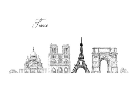 City travel landmarks, tourist attraction in various places of France. Hand Drawn Sketch Vector illustration.