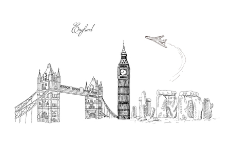 City travel landmarks, tourist attraction in various places of England. Hand Drawn Sketch Vector illustration. Tourist card.