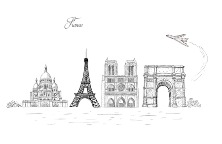 City travel landmarks, tourist attraction in various places of France. Hand Drawn Sketch Vector illustration. Tourist card.