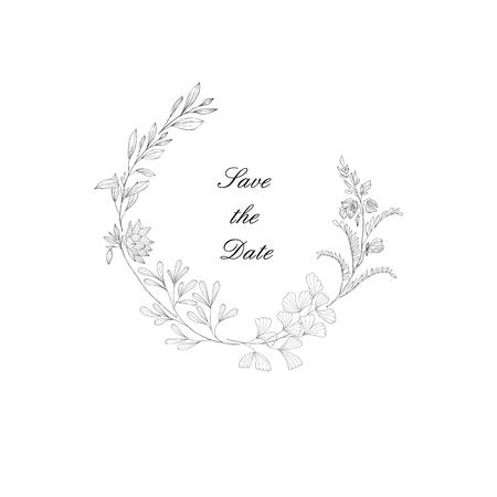 Cadre floral avec plante. Décoration florale pour carte de voeux et monogramme. Bordure botanique vintage. Dessin au trait.