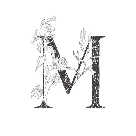 Floral botanical alphabet. Letter with plants and flowers. Line art.