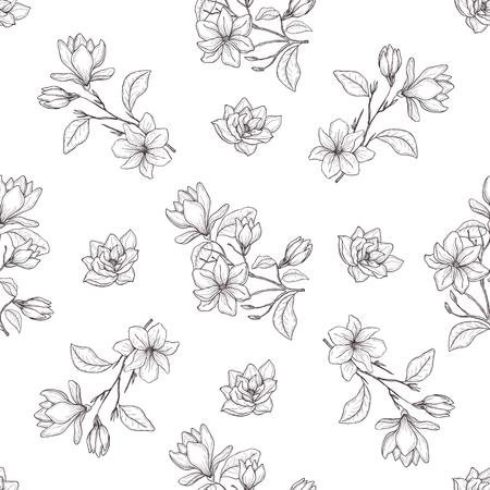 Nahtlose botanische Linie Kunstmuster. Hintergrund mit Magnolie.