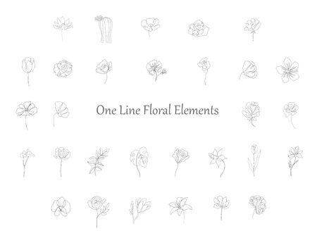 Set of floral design elements: plants, branches, leaves. Line hand drawn elements for logo, emblem, decoration.