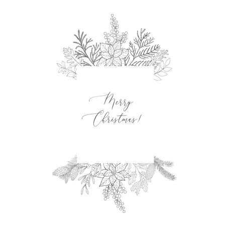 Winter frames with evergreen plant and branches. Christmas and New Year background. Holiday and celebration graphics.