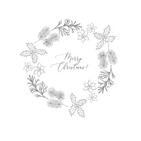 Winter wreaths with evergreen plant and branches. Christmas and New Year background. Holiday and celebration graphics.