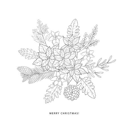 Winter bouquet with evergreen plants. Christmas and new year line art graphic.
