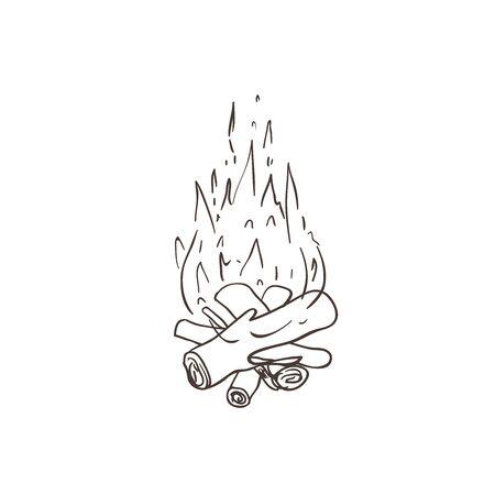 Bonfire on white background. Line art vector.