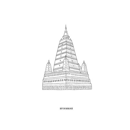 Around the World. Travel illustration with attraction of Myanmar