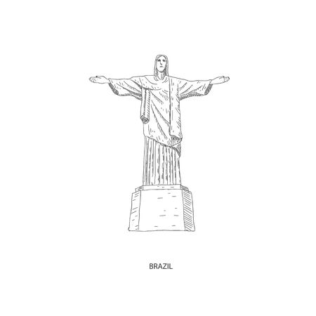 Around the World. Travel illustration with attraction of Brazil