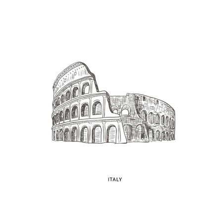 Around the World. Travel illustration with attraction of Italy