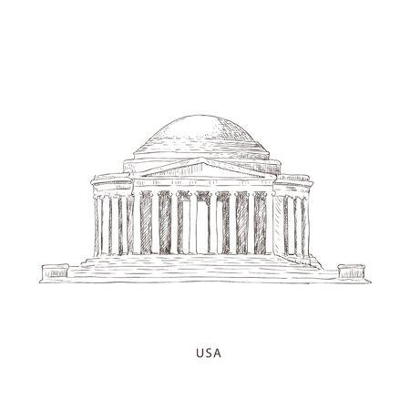 Around the World. Travel illustration with attraction of USA Illustration