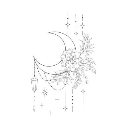 Decorative mystery floral design with Moon and Dahlia. Tattoo or t-shirt print. Magic logo illustration. Illusztráció