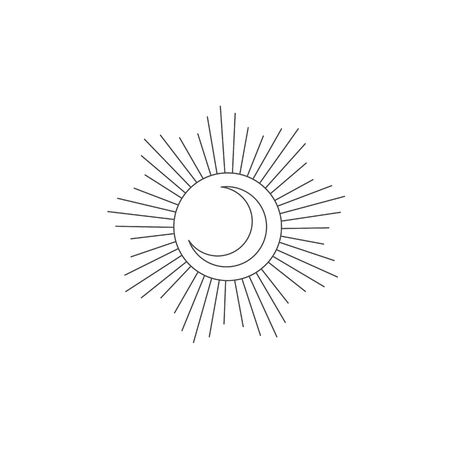 Logo design element with Moon and Sun. Tattoo decoration.