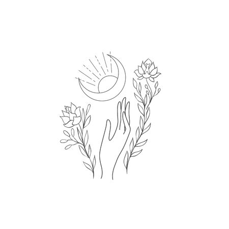 Decorative mystery floral design with Moon. Tattoo or t-shirt print. Magic logo illustration.
