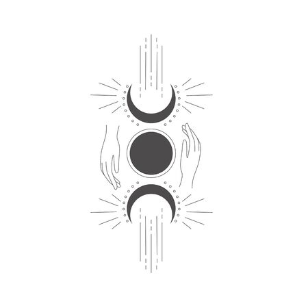 Logo design element with Moon and hands.
