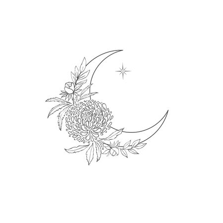 Decorative mystery floral design with Moon and Aster. Tattoo or t-shirt print. Magic logo illustration.