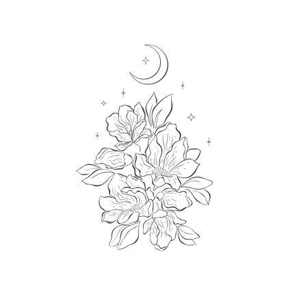 Decorative mystery floral design with Moon and Magnolia. Tattoo or t-shirt print. Magic logo illustration.