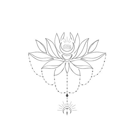 Decorative mystery floral design with Lotus and Moon. Tattoo or t-shirt print. Magic logo illustration.