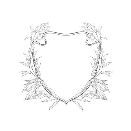 Floral botanical frame and monogram. Vintage border.Vector crests.