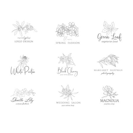 Botanical floral logo set. Flowers and branches. Vector design.