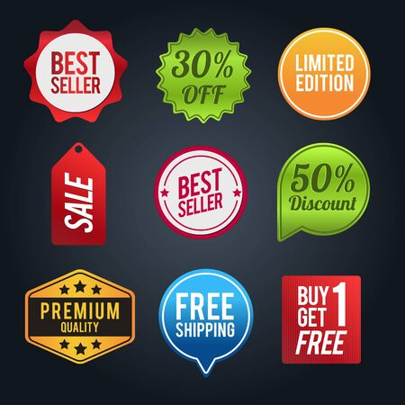 Set of discount badges. Sale and discounts layout. Vector illustration