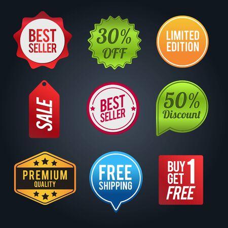 Zestaw odznak rabatowych. Układ sprzedaży i rabatów. Ilustracja wektorowa