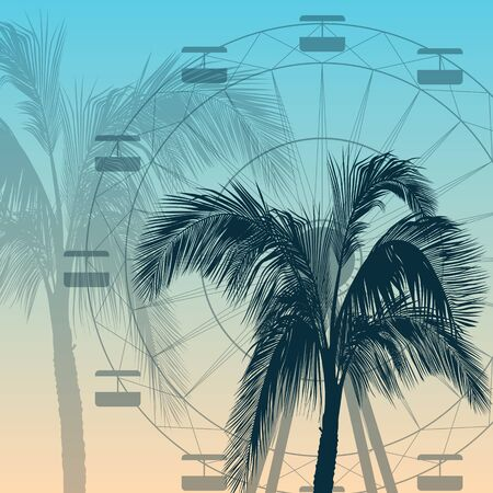 Ferris wheel and palm tree silhouette background