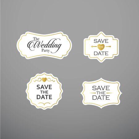 Wedding set label, badges, design elements