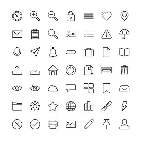 Set of Outline stroke Basic UI icons Vector illustration