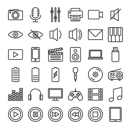 Set of Outline stroke Multimedia icons Vector illustration Banque d'images - 125213332