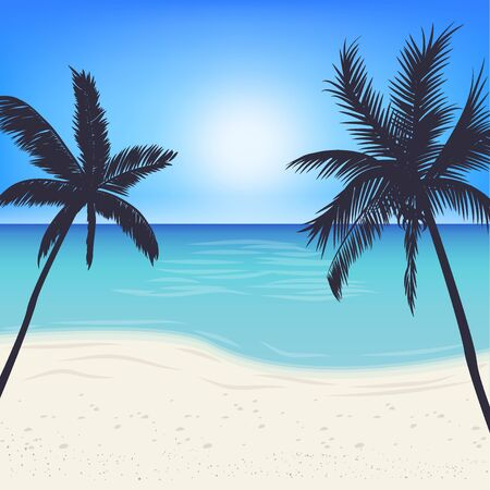Silhouette palm tree on island under blue sky background