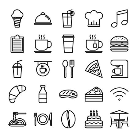 Restaurant Outline Icon Set Vectores