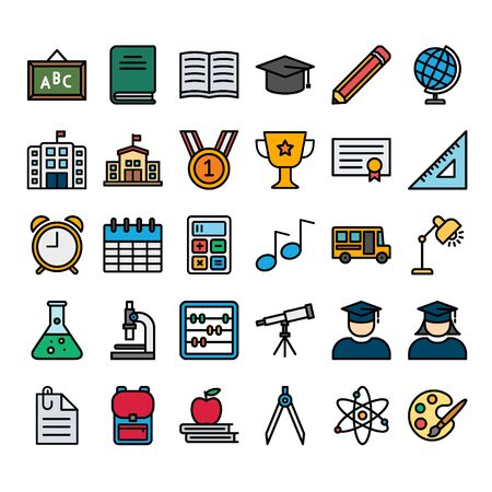 Education Filled Outline Icon Set Vectores