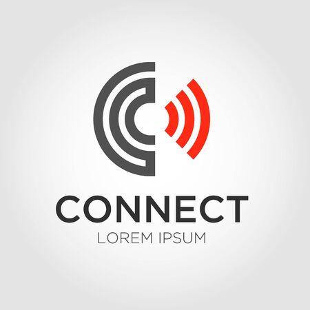 Logo della lettera iniziale C, design del logo Connect