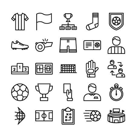 Conjunto de iconos de contorno de fútbol