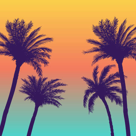 Silhouette palm coconut trees background Vector Illustratie