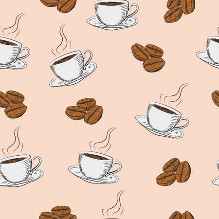 Coffee beans and cups Seamless vector pattern