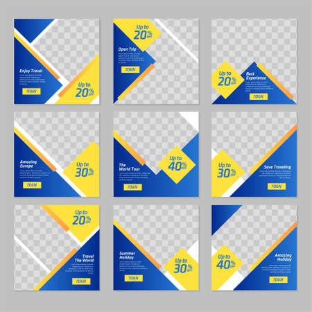 Travel social media banner post design template