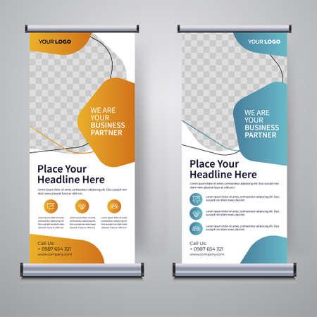 Corporate rollup or X banner design template Ilustración de vector