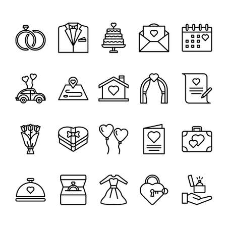 Set of wedding outline icon style