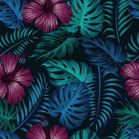 Floral seamless pattern with leaves. tropical background