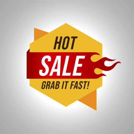Hot sale offer label banner template Vettoriali