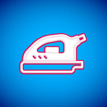 White Electric iron icon isolated on blue background. Steam iron. Vector
