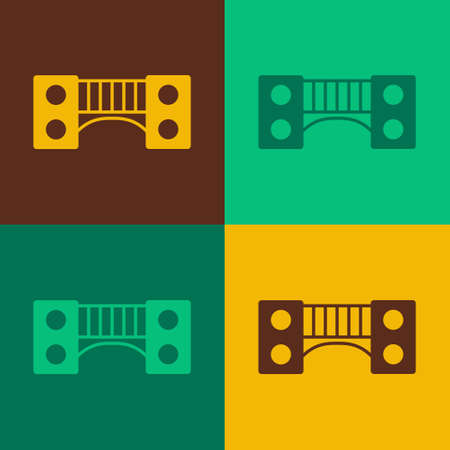Pop art Playground kids bridge icon isolated on color background. Vector Ilustração Vetorial