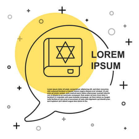 Black line Jewish torah book icon isolated on white background. On the cover of the Bible is the image of the Star of David. Random dynamic shapes. Vector